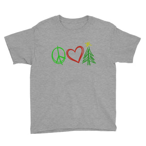 Peace, Love, and Christmas Youth Short Sleeve T-Shirt