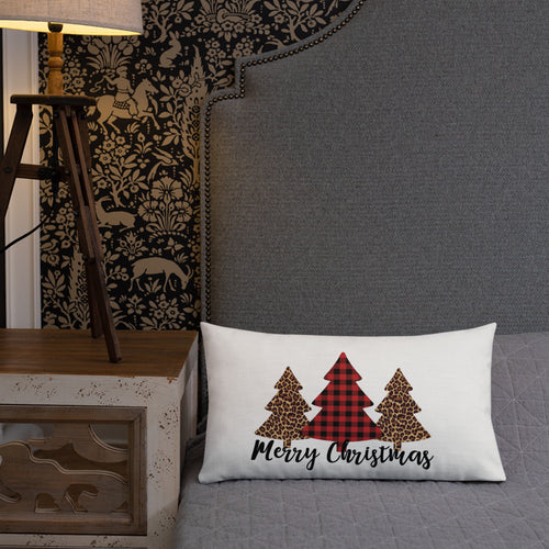 Buffalo Check and Leopard Merry Christmas Premium Pillow