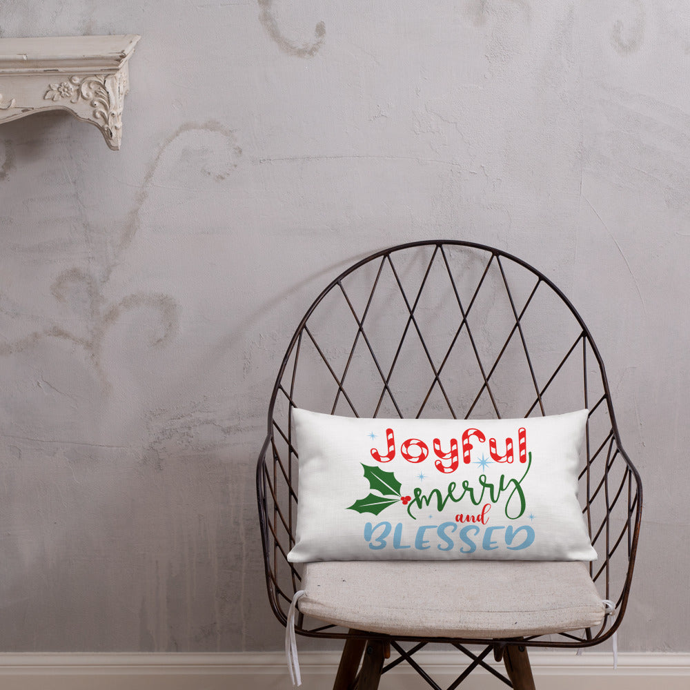 Joyful, Merry, and Blessed Christmas Premium Pillow