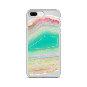 Aqua and Pink Geode iPhone Case
