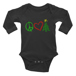 Peace, Love, and Christmas Infant Long Sleeve Bodysuit