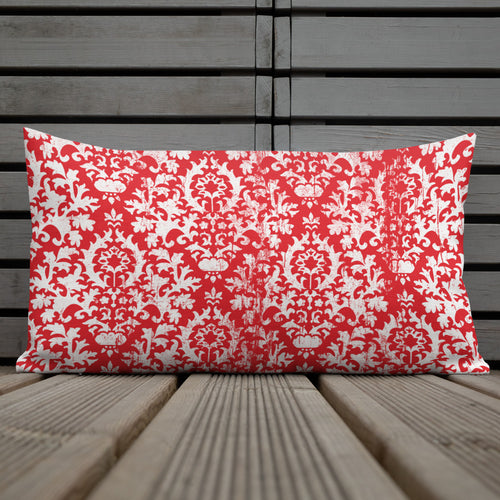 Red  Damask Premium Pillow