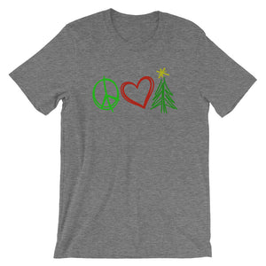 Peace, Love, and Christmas Short-Sleeve Women's T-Shirt