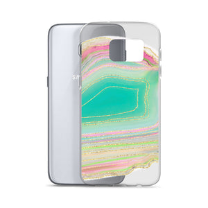 Aqua and Pink Geode Samsung Case