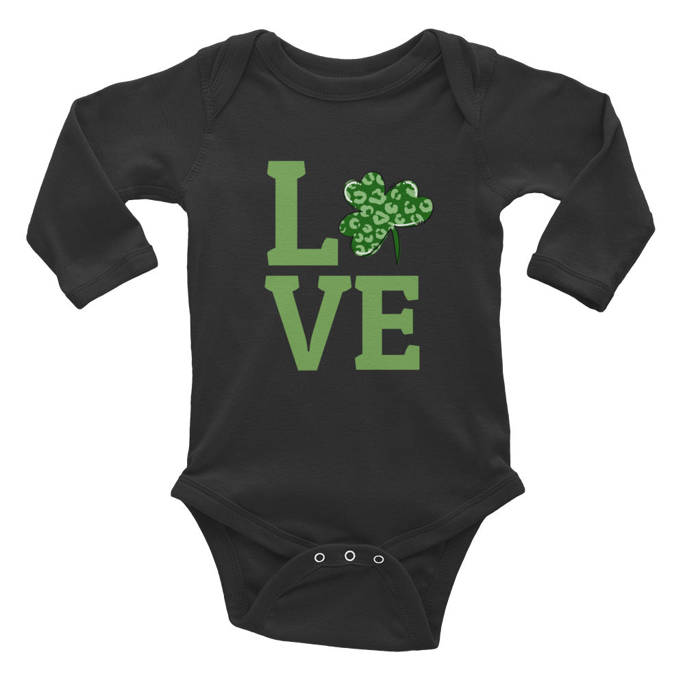Leopard Shamrock Love Infant Long Sleeve Bodysuit