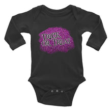 Trick or Treat Purple Glittery Halloween Infant Long Sleeve Bodysuit