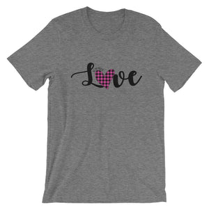 Pink Plaid Love Short-Sleeve Womens T-Shirt