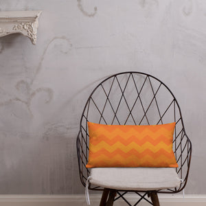 Orange Ombre Chevron Premium Pillow