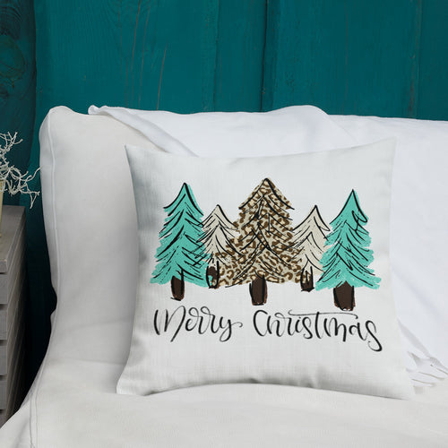 Turquoise and Leopard Christmas Tree Premium Pillow