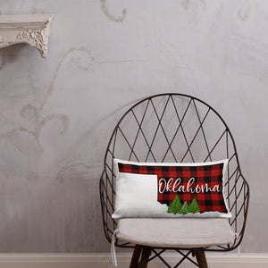 Oklahoma Buffalo Plaid Premium Pillow
