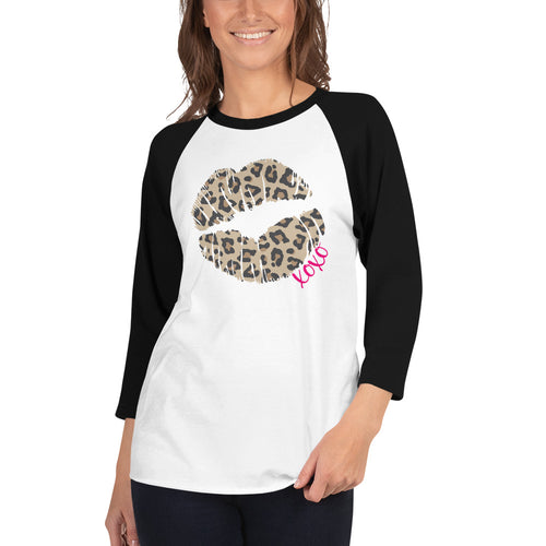Leopard Lips XOXO 3/4 sleeve raglan shirt