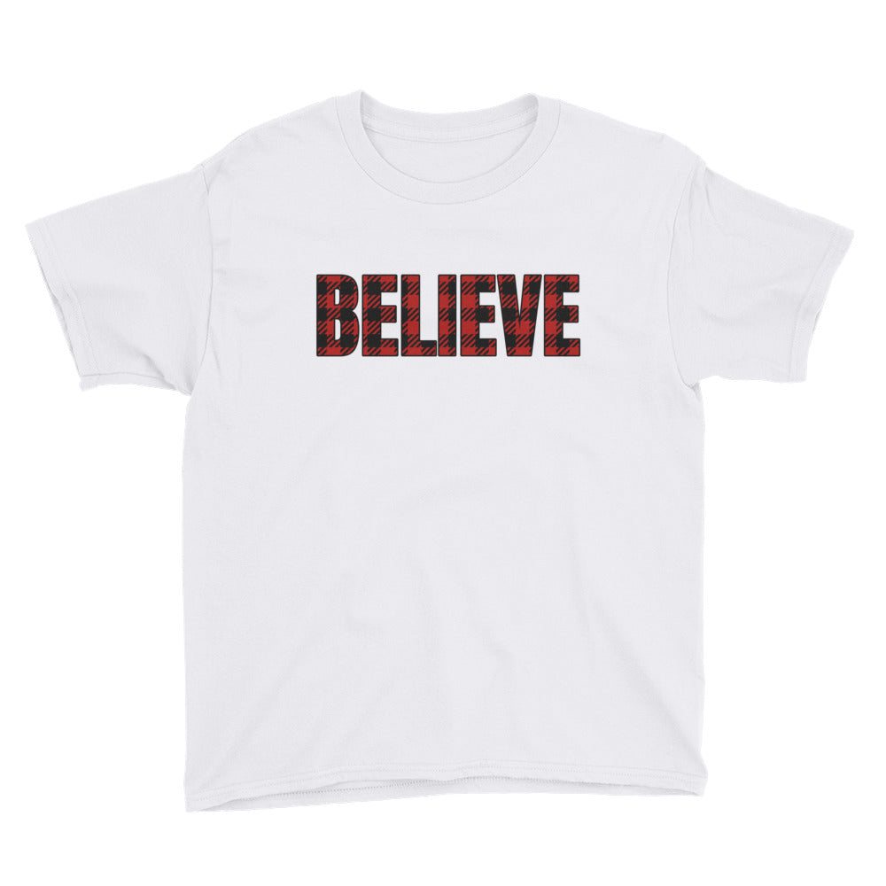 Buffalo Plaid Believe Youth Short Sleeve T-Shirt