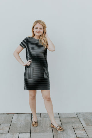 People Tree Phoebe Stripe Dress in Navy