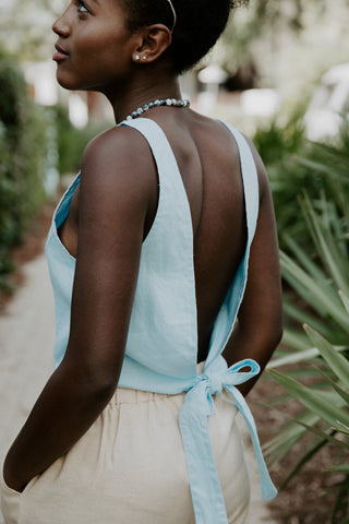 Sundays Linen Tie-Back Top in Baby Blue
