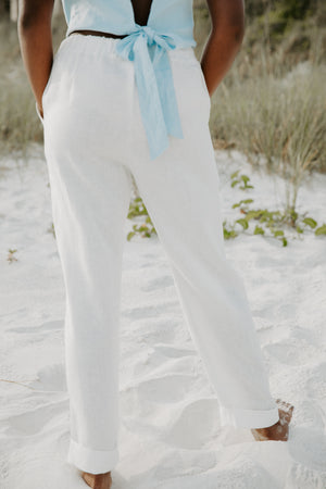 Sundays Linen Lounge Pant in Off-White