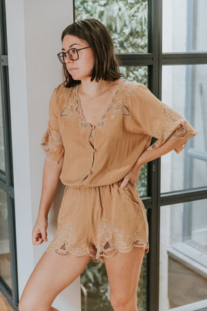 YIREH Luna Playsuit in Sand