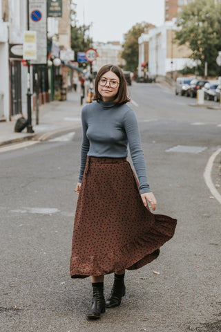 LACAUSA Fairfax Marley Wrap Skirt in Chocolate