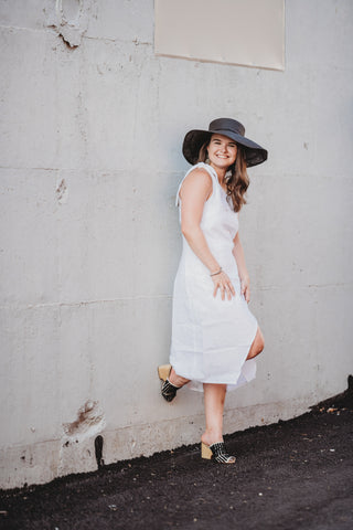 Palm Collective Bella One Shoulder Linen Dress in White