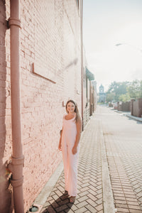 Palm Collective Bonnie Linen Jumpsuit in Pale Pink