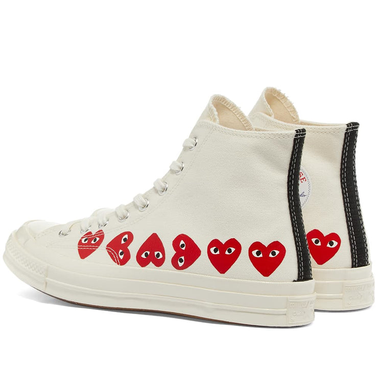 CDG PLAY CONVERSE HIGH MULTI HEART WHITE