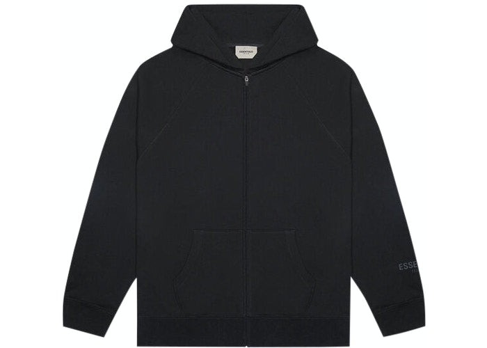 ESSENTIALS FOG 3D SILICON ZIP UP HOODIE BLACK