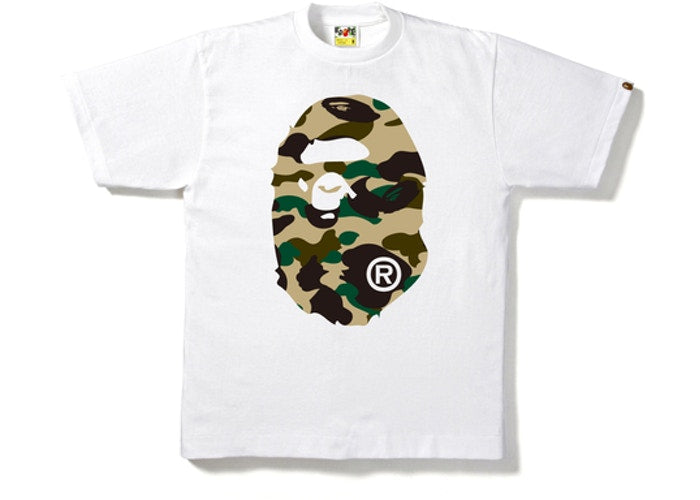 BAPE 1ST CAMO BIG APE HEAD TEE WHITE/YELLOW