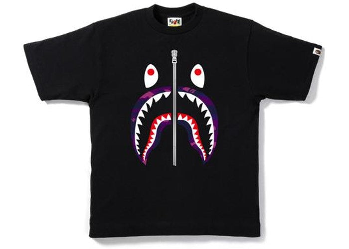 BAPE COLOR CAMO SHARK TEE BLACK/PURPLE