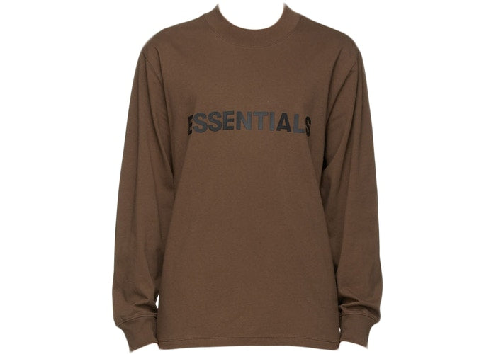FEAR OF GOD ESSENTIALS X SSENSE 3D SILICON APPLIQUE LONG SLEEVE BROWN