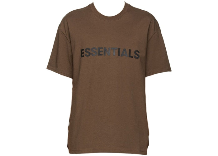 FEAR OF GOD ESSENTIALS X SSENSE 3D SILICON APPLIQUE T-SHIRT BROWN