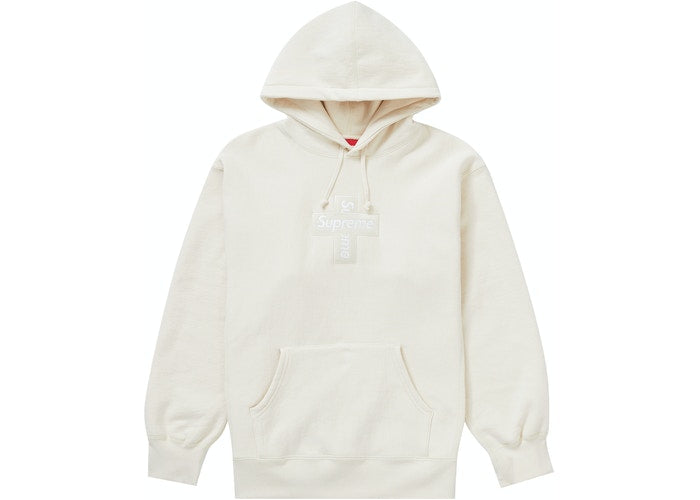 SUPREME CROSS BOX LOGO HOODIE NATURAL