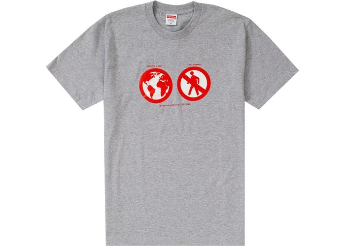 SUPREME SAVE THE PLANET TEE GREY