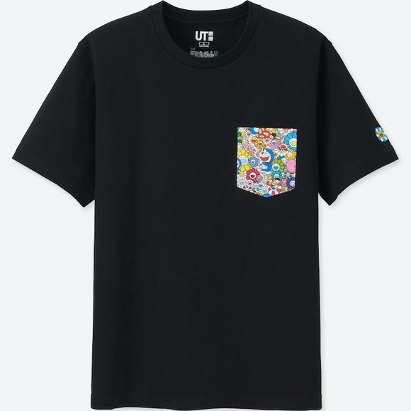 TAKASHI MURAKAMI X DORAEMON X UNIQLO POCKET TEE BLACK