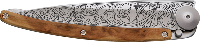 Tattoo Knife (Art Nouveau Design) Juniper Wood 37g