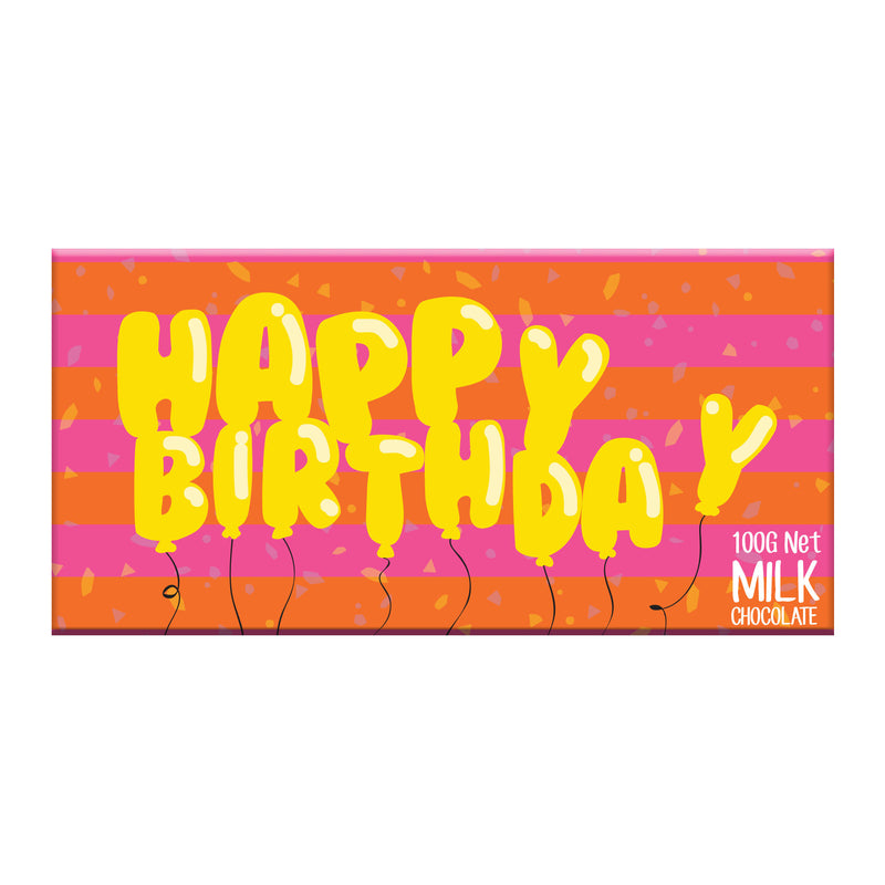 Chocolate Bar (Milk) - Happy Birthday Balloons 100g