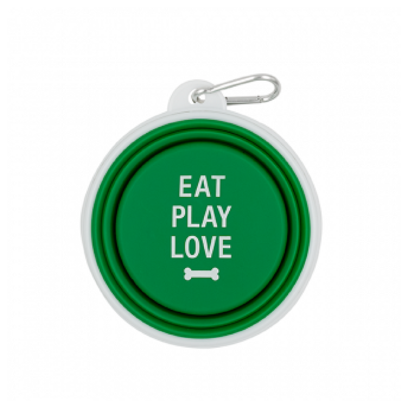Dog Bowl - Eat, Play, Love (Green)