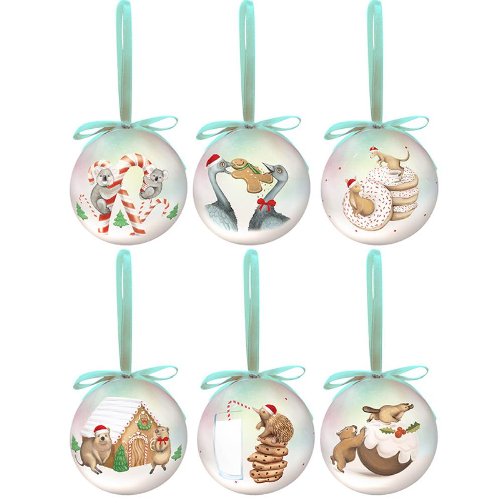 Christmas Baubles Set of Six - Giant Treats Design