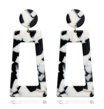 Black & White Geometric Drop Earrings