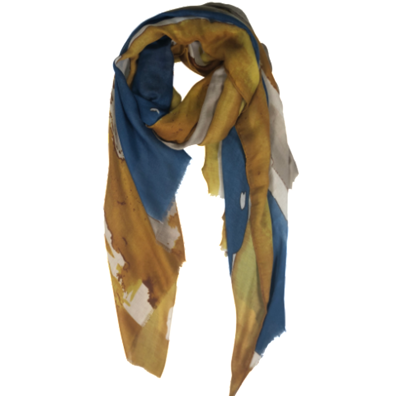 Scarf (Blue/Yellow Watercolour Design)