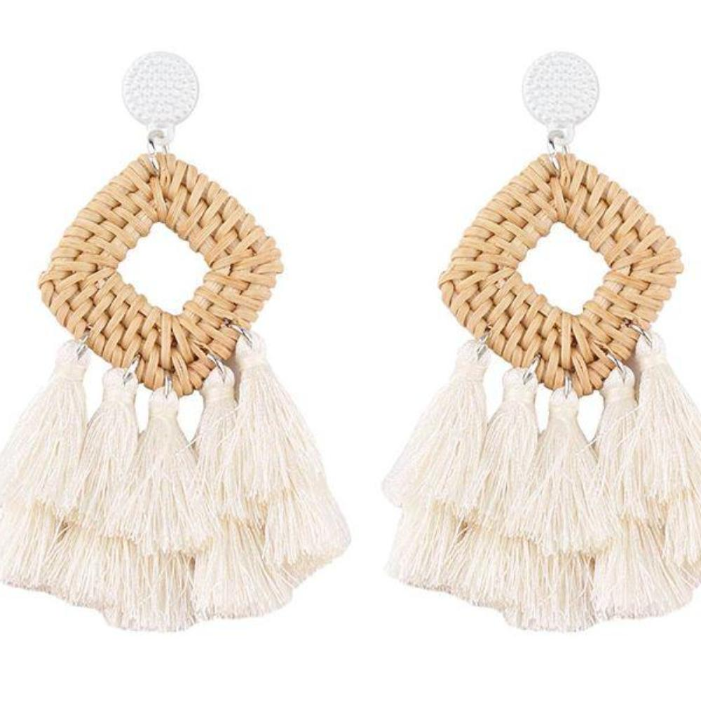 Rattan Drop Tassel Earrings (Cream)