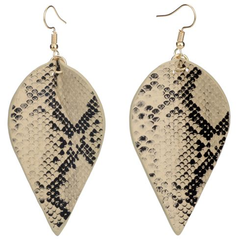 Faux Leather Drop Earrings (Snakeskin Pattern)