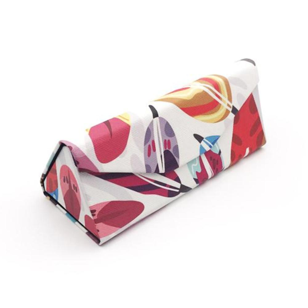 Foldable Glasses Case (Feather Design) with Matching Lens Cleaning Cloth
