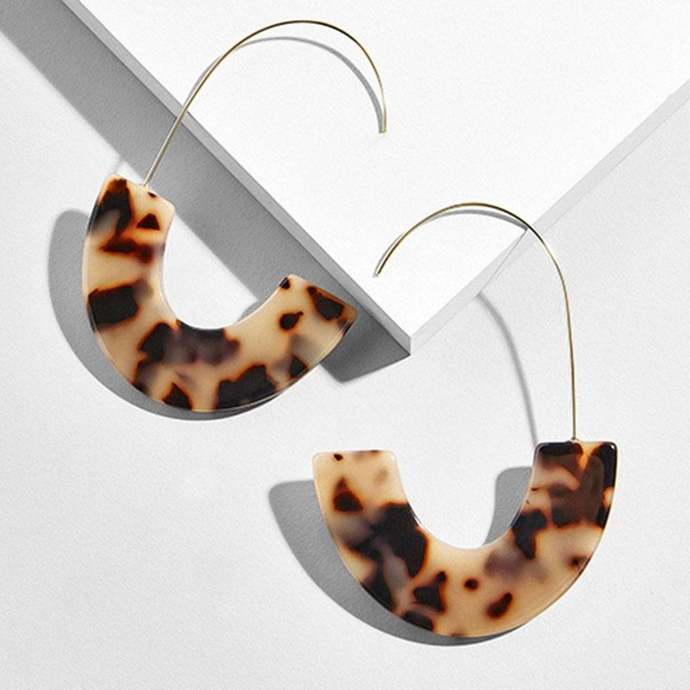 Resin Drop Earrings - Faux Tortoise Shell Design
