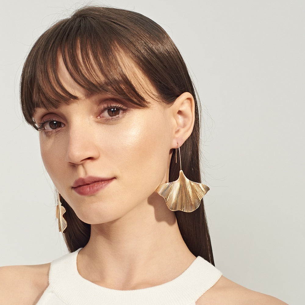 Gold Ginkgo Leaf Drop Earrings