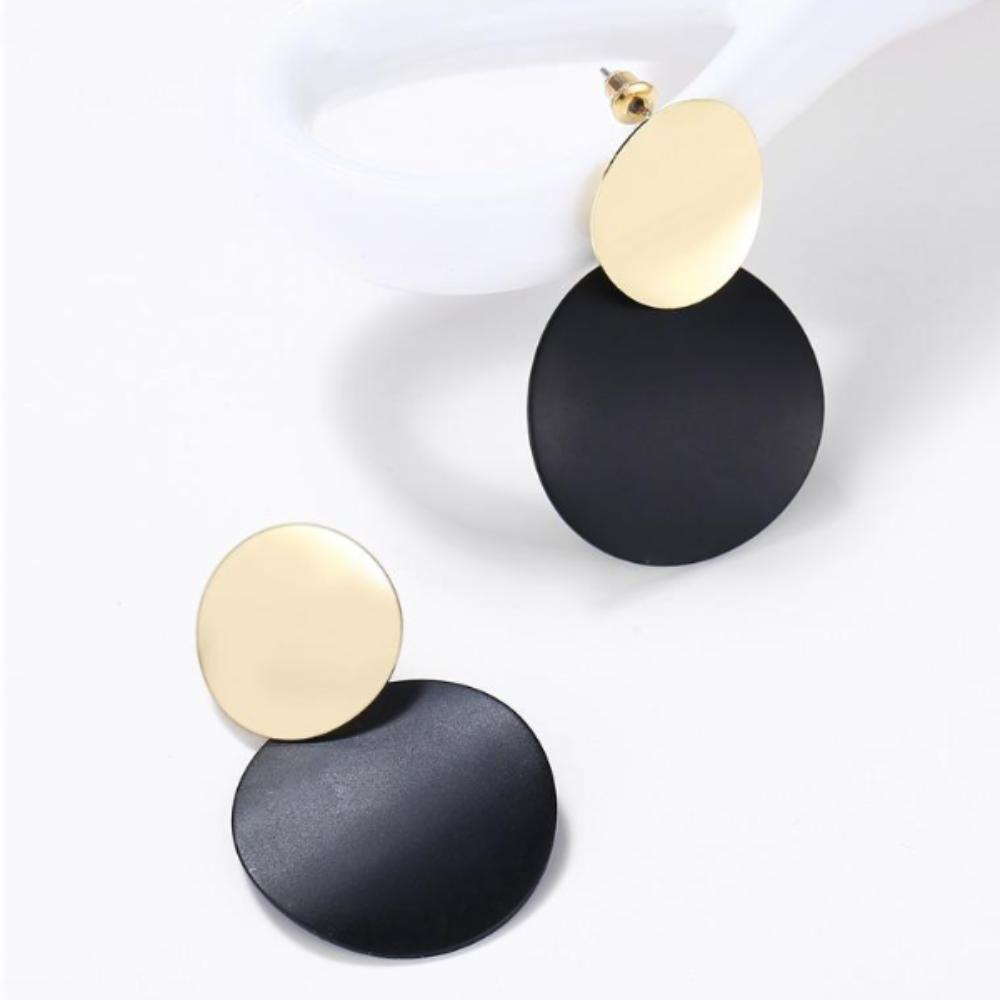 Metal Drop Earrings Black & Gold