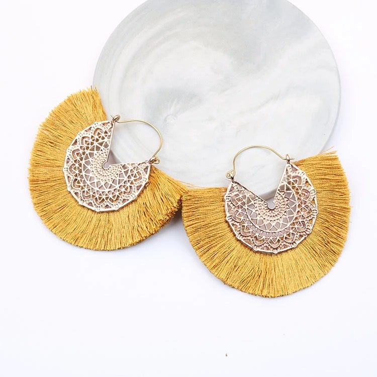 Yellow & Gold Fan Earrings