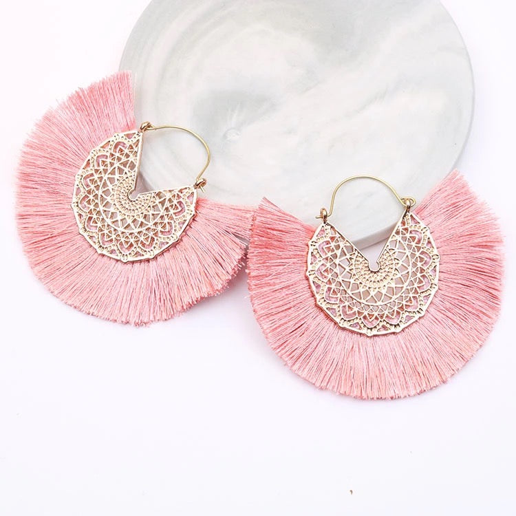 Pink & Gold Fan Earrings
