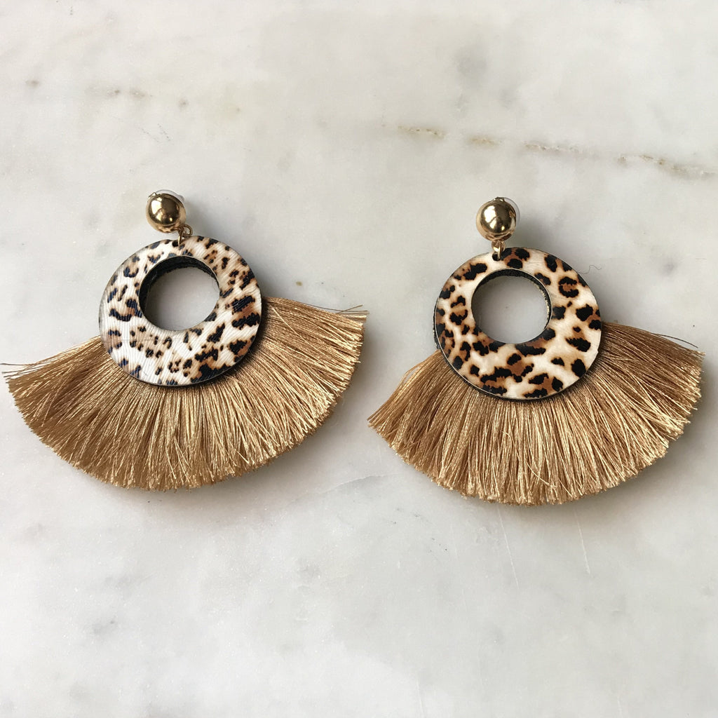 Drop Leopard Print Tassel Earrings