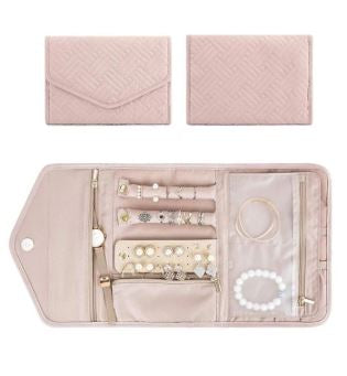 Pastel Pink Travel Jewellery Organiser