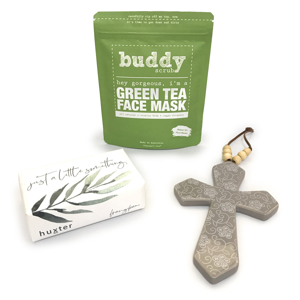 Just a Little Something - (Green Tea Mask, Soap & Ceramic Cross)