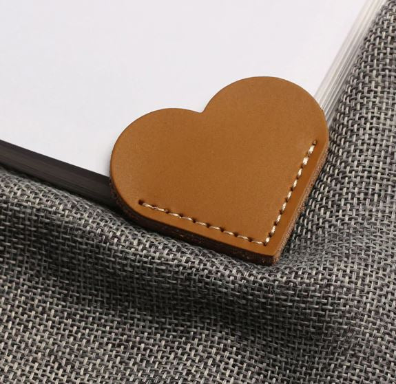 Leather Heart Shaped Bookmark